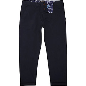 Navy cropped slim chino trousers