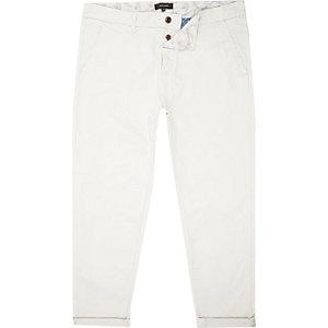 Stone grey cropped slim chino pants