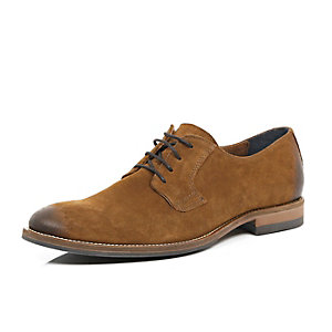 Brown leather rustic burnished brogues