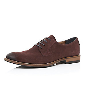 Red rustic suede brogues