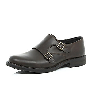 Brown leather chunky sole monk strap shoes