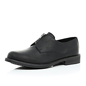 Black leather zip front shoes