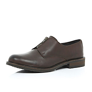 Brown leather zip front shoes