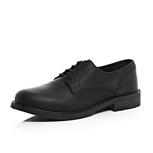 Black leather chunky sole shoes