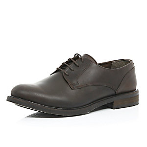 Brown leather chunky sole shoes