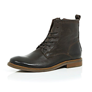 Dark brown leather worker boots
