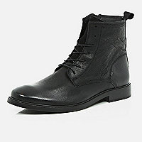 Black leather smart worker boots