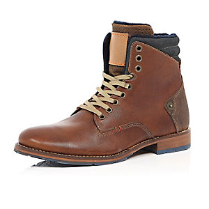 Brown leather felt-lined worker boots