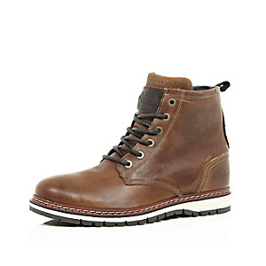 Brown leather borg-lined worker boots