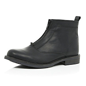 Black leather zip front boots
