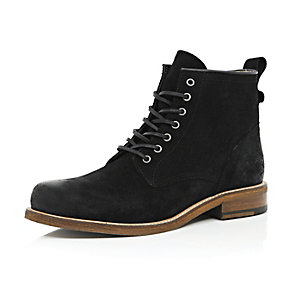 Black suede lace-up boots