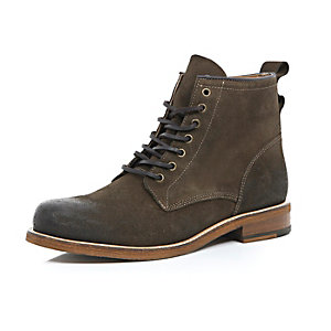 Dark green leather lace-up boots