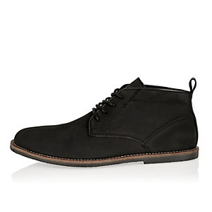 Black nubuck leather desert boots