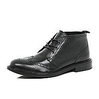 Black leather brogue chukka boots
