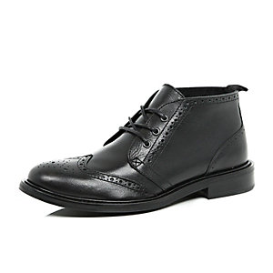 Black leather brogue chukka boots