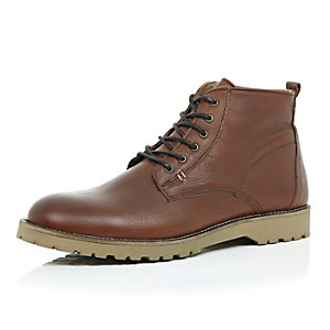 Brown leather rustic boots