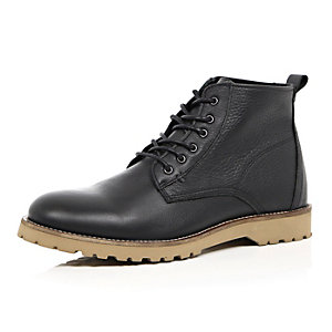 Black leather rustic boots