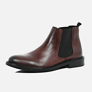 Dark red leather chunky Chelsea boots
