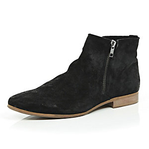 Black suede zip up ankle boots