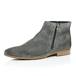Grey leather zip side ankle boots