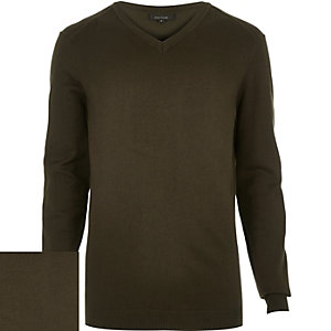 Khaki green V-neck jumper
