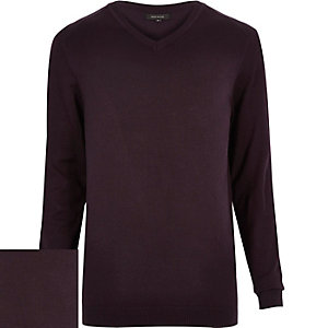 Dark purple V-neck jumper