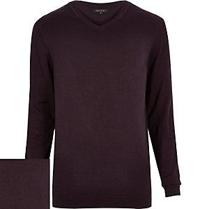 Dark purple V-neck jumper