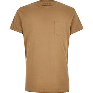 Brown chest pocket t-shirt