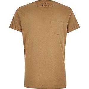 Brown chest pocket t-shirt