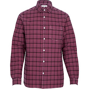 Purple check stitch pocket shirt