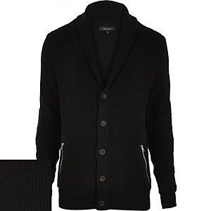 Black shawl neck knitted cardigan