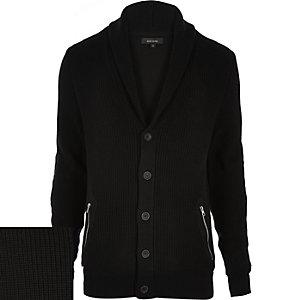 Black shawl neck knitted cardigan