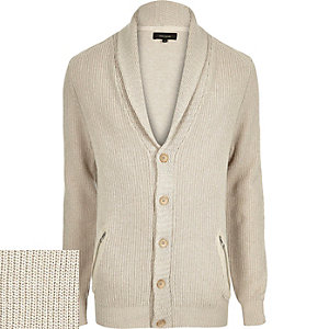 Ecru shawl neck knitted cardigan