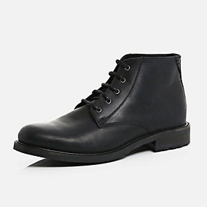 Black leather smart chukka boots