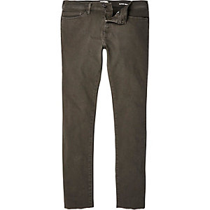 Khaki Danny super skinny raw hem jeans
