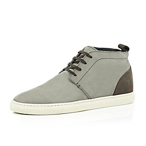 Beige nubuck leather high top trainers
