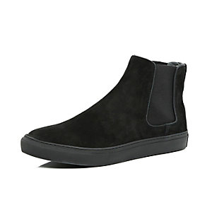 Black suede flat sole Chelsea boots
