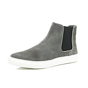 Dark grey suede flat sole Chelsea boots