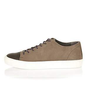 Grey nubuck lace up sneakers