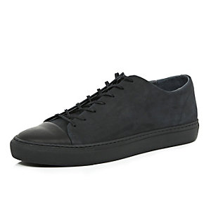 Black nubuck leather plimsolls