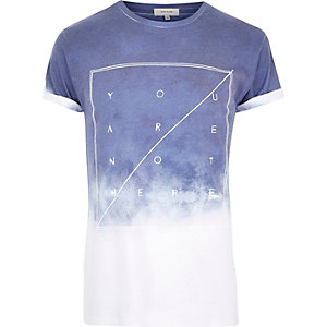 Blue faded square print t-shirt