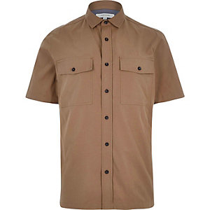 Brown utility short sleeve shirt