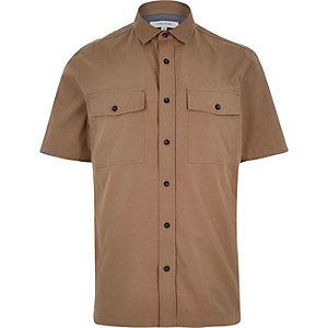 Brown utility short sleeve shirt
