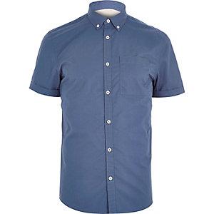 Blue short sleeve twill shirt