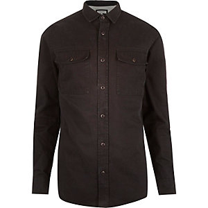 Black herringbone utility overshirt