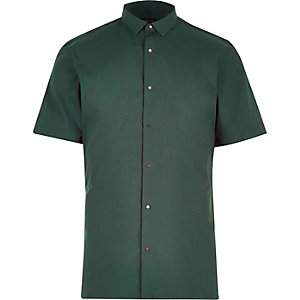 Green slim popper front shirt