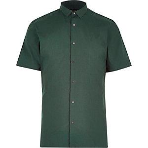 Green slim popper front slim shirt