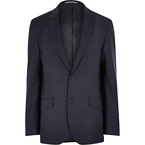 Navy wool-blend tailored suit jacket