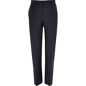 Navy wool-blend tailored suit trousers