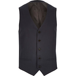 Navy tailored suit vest